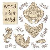 Wood djurdiagram Eco vänskapsmatchleksaker Royaltyfria Bilder