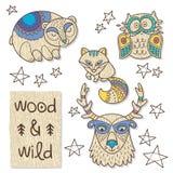 Wood djurdiagram Eco vänskapsmatchleksaker Arkivfoton