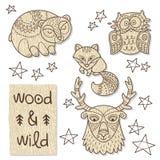 Wood djurdiagram Eco vänskapsmatchleksaker Arkivfoto