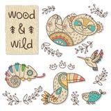Wood djurdiagram Eco vänskapsmatchleksaker Arkivbilder