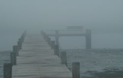 Wood Dock In Fog Royalty Free Stock Photography