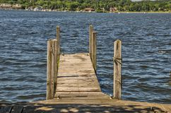 Empty Wood Dock in Beautiful Blue Water. Wood dock with a view at a lake in Michigan Stock Image