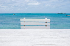 Wood dock White chair and table Royalty Free Stock Photos