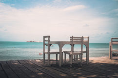 Wood dock White chair and table vintage Royalty Free Stock Images