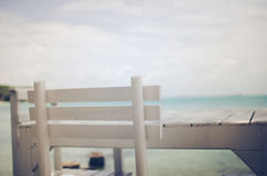 Wood dock White chair and table vintage Stock Photo