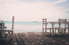 Wood dock White chair and table vintage Stock Photography