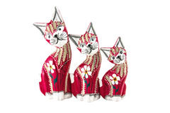 Wood doll cat Royalty Free Stock Images