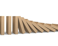 Wood dominoes falling Stock Photography