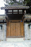 Wood door. A chinese traditional wood door in the garden Royalty Free Stock Photo