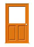 Wood Door with Blank Window. Illustration of a wooden door with a window isolated on a white background royalty free illustration