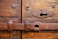 And wood  door castiglione olona varese italy Royalty Free Stock Photos