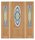 Wood door with glass on white background. royalty free stock photo
