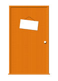 Wood Door with Hanging Blank Sign. Illustration of a wooden door with a hanging white sign for text royalty free illustration