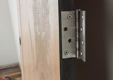 Wood door hinges. Royalty Free Stock Photos