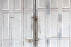 Wood door with the key lock Stock Photo