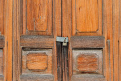 Wood door and lock Royalty Free Stock Photo