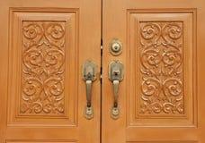 Wood Door Locked Stock Photo