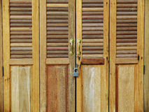 Wood door with locked Royalty Free Stock Photo