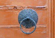 Wood door metal handle Stock Photos