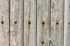 Wood door with panels and rivets Royalty Free Stock Image