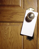 Wood door with sign hanger Royalty Free Stock Photo