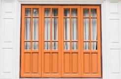 Wood door of temple Stock Image