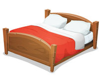 Wood Double Bed With Red Blanket Stock Photos