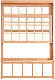 Wood Double Hung Windows. Double-hung window parts. Stock Photo