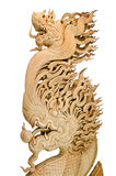Wood Dragon carve. Handcrafted dragon isolated on a white background Royalty Free Stock Images