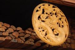 Wood dragon. Carving of a dragon at an artist shop in Bangkok Stock Photography