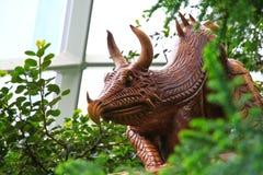 Wood Dragon Statue Stock Photo