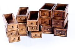 Wood drawers. Multiple chest wood drawers stacked one above another Royalty Free Stock Photography