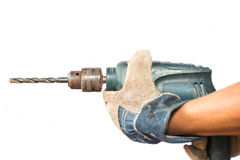 Wood drill bit with shaving Royalty Free Stock Photo
