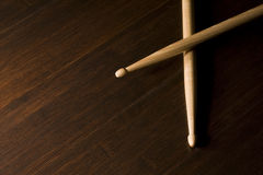 Wood Drumsticks on Bamboo floor Royalty Free Stock Images