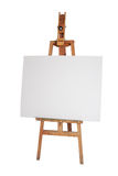 Wood easel. With white canvas isolated Royalty Free Stock Image