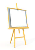 Wood easel with white canvas. 3d render Stock Photography