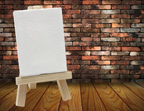 Wood easel with white canvas Royalty Free Stock Photography