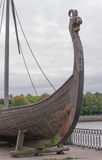 Wood element Scandinavian Drakkar. Viking ship. Stock Photos