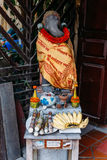 Wood Elephant Sculpture with Fabric for Worship at Luang Prabang, Laos Royalty Free Stock Photography