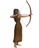 Wood Elf Archer Girl. With bow and arrow, 3d digitally rendered illustration isolated on white Stock Photos