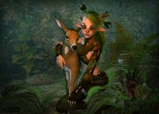 Wood Elf and Fawn, 3d CG Stock Images
