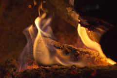 Wood embers detail Royalty Free Stock Photo