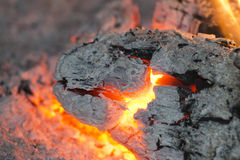Wood embers detail Royalty Free Stock Photography