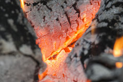 Wood embers detail Royalty Free Stock Images