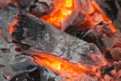 Wood embers detail Stock Photos