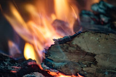 Wood embers detail in fire place Royalty Free Stock Photo
