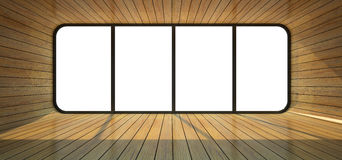 Wood empty room with big window Royalty Free Stock Photos