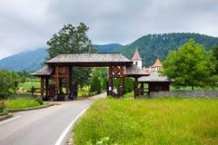 Wood entrance gate from Sambata de Sus Monastery in Transylvania Stock Photo