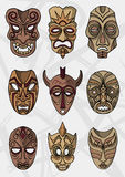 Wood ethnic or ceremonial theater masks vector icons Stock Photos
