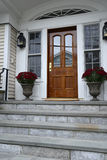 Wood exterior door. Fancy wood door for a federal style house.  there are slate steps leading up to the door and flowers in planters Stock Photo